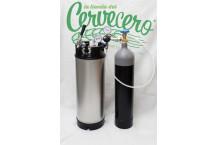 Equipo completo de gas y barril Cornelius NUEVO - 9,45 litros.