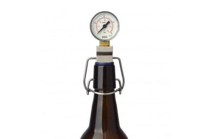 Botella para medir la presion de CO2 y control de carbonatacion