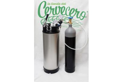Equipo completo de gas y barril corni nuevo 9 litros.